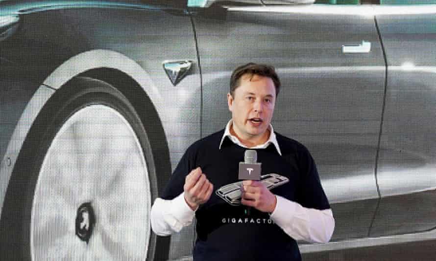 Tesla CEO Elon Musk at the company's Shanghai factory in January.