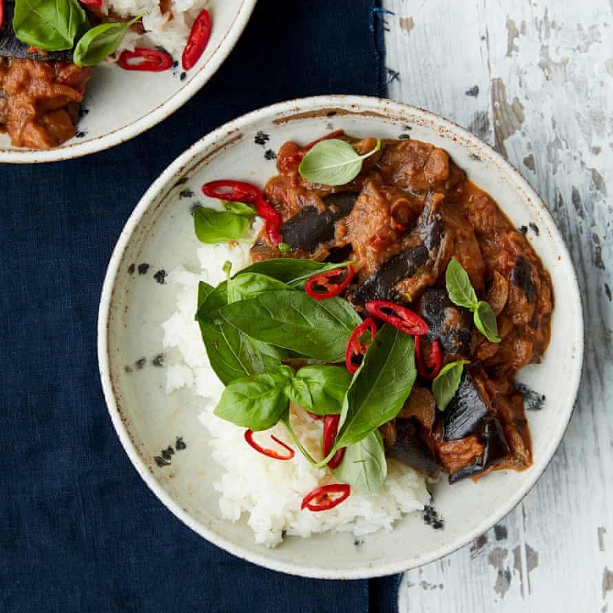 Anna Jones' aubergine curry with basil and tamarind