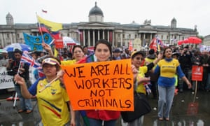 A demonstration against exploitation of migrant workers in Trafalgar Square