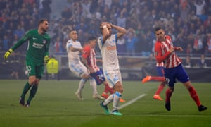 Marseille's Valere Germain reacts after a missed chance