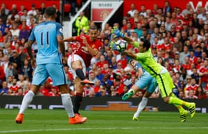 Which Zlatan Ibrahimovic fires past Bravo and the City defenders on the line to put United back in the game.