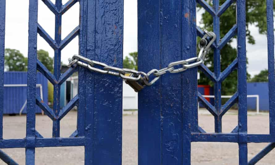 Padlocked primary school gates