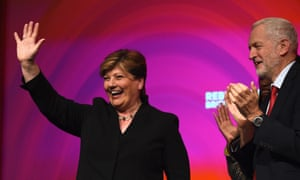 Labour party leader Jeremy Corbyn applauds as shadow Foreign Secretary Emily Thornberry waves to delegates at last year's Labour conference.