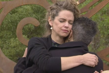 British high commissioner Laura Clarke hugs a Māori elder as she visits Gisborne on Wednesday to express 'regret' for the killing of Māori in Aotearoa.