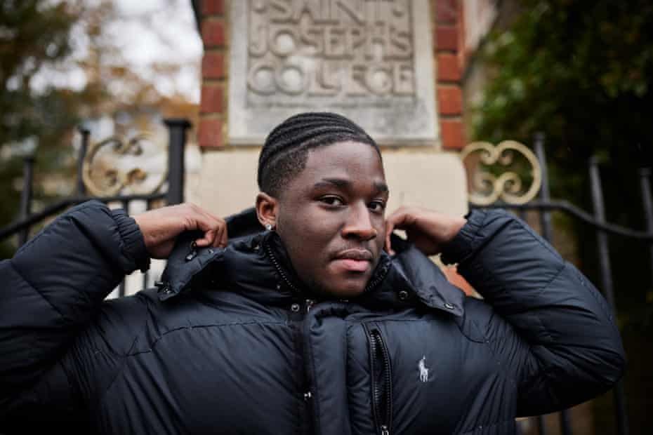 Josiah Elleston-Burrell outside St Joseph's College in Croydon, south London.