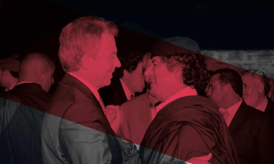 Tony Blair, then UK prime minister, with Muammar Gaddafi after their meeting on 29 May 2007 in Sirte, Libya.