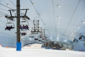 An indoor ski resort with 22,500 square meters of indoor ski area.