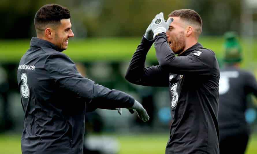 John Egan and Matt Doherty during training this week.