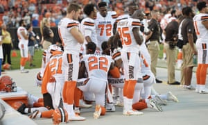 Members of the Cleveland Browns knelt during the national anthem last month