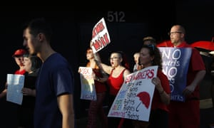 People march in support of sex workers on 2 June 2019 in Las Vegas.