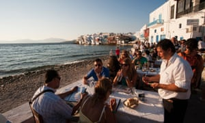 Eating out in Mykonos ... there might be fewer restaurant trips this summer.