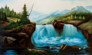 Gerber's L'Origine du Monde #1 (1992) landscape painting shows the subtle mirroring he uses in his work