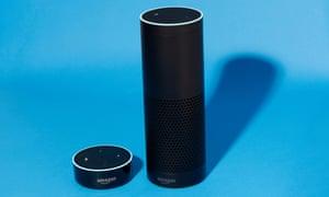 Amazon Dot, left, and Echo.