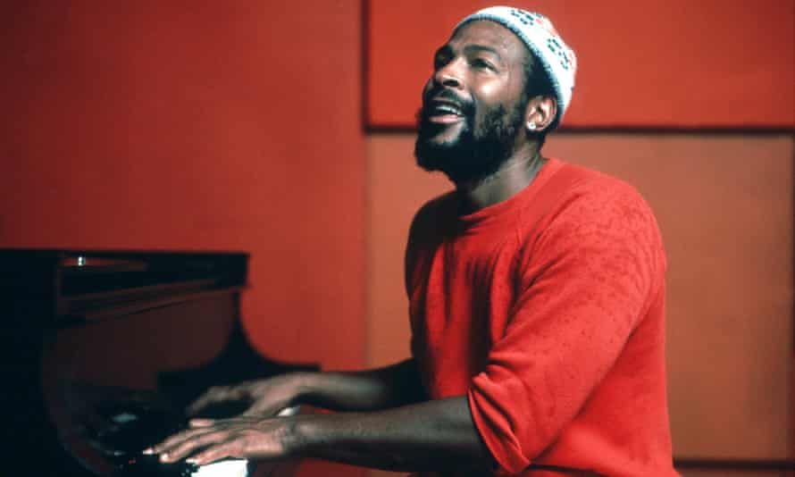 Marvin Gaye plays piano as he records in a studio in circa 1974.