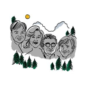 Illustration of a Canadian Mount Rushmore with comedy stars' faces