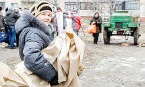 A woman in Mariupol, eastern Ukraine