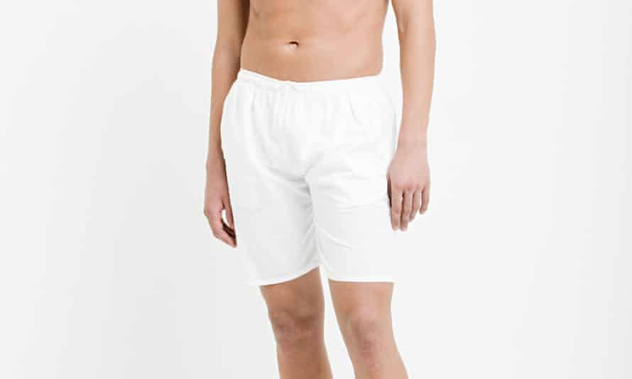 A man in a pair of white boxer shorts.