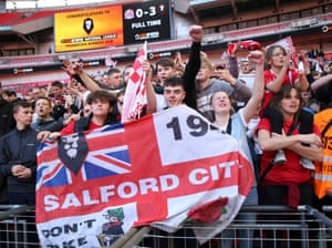 Salford City fans celebrate promotion.