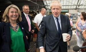 Boris Johnson meeting customers during a visit to Polhill Garden Centre near Halstead in Kent.
