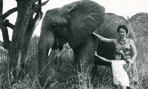 Daphne Sheldrick and her daughter, Angela, with Eleanor, an elephant raised by Daphne.
