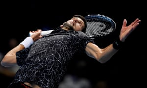 Serbia's Novak Djokovic in action during his group stage match against Germany's Alexander Zverev.