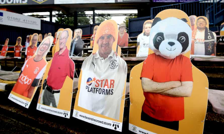 Cardboard cutouts of Luton Town fans at Kenilworth Road.