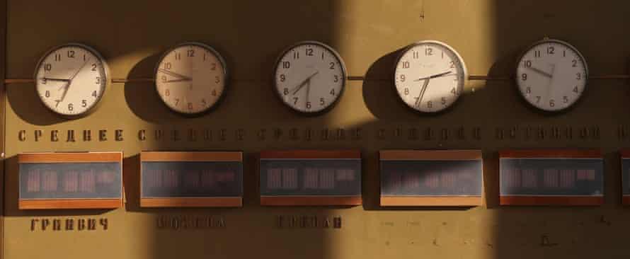 Clocks inside the control room of an abandoned Soviet-era optical radio telescope, on the slope of Mount Aragats, Armenia.