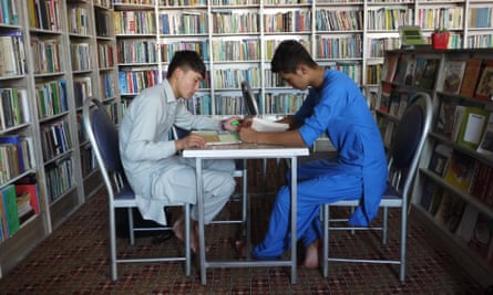 Students prepare for their Kankor exam in the library of the Rahila Foundation.