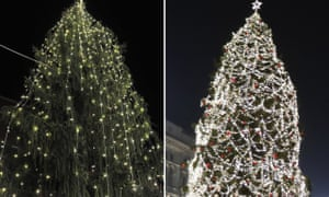 Tale of two cities: the tree in Rome (left) is outshone by its Milan rival (right).
