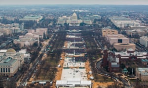 This handout photo released by the US National Park Service shows the crowd for Donald Trump's inauguration: 'a massive field of people … packed', according to Trump.