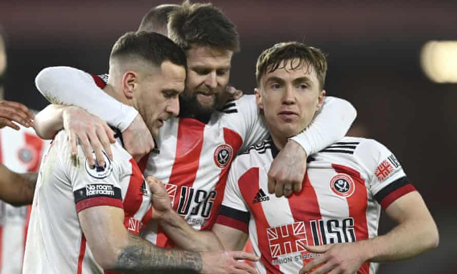 Sheffield United during their win over Newcastle United on Tuesday night. Ministers are worried about celebrations by players after goals.