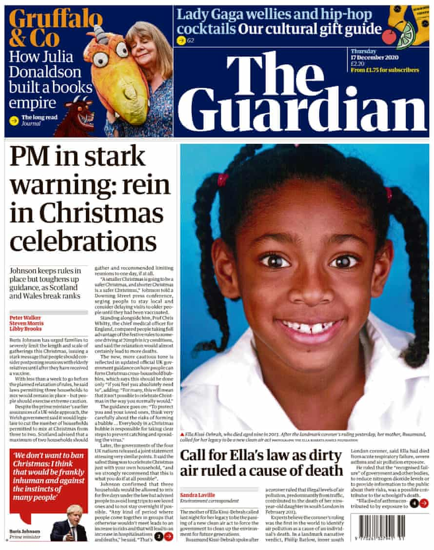Guardian front page, Thursday 17 December 2020