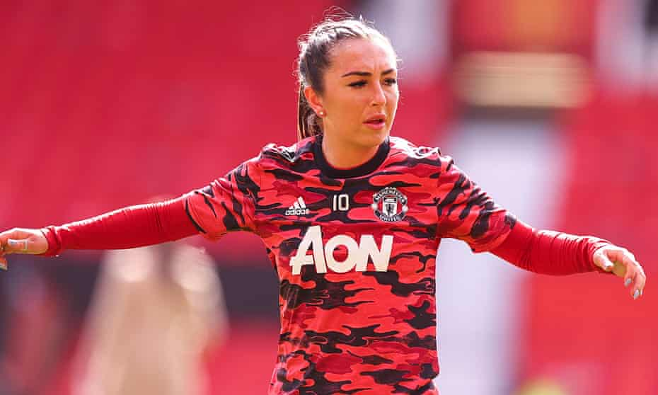 Katie Zelem warming up for Manchester United before the game against West Ham in March. She joined the club after a spell in Italy with Juventus.