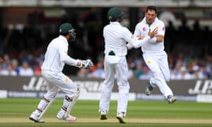 Pakistan bowler Yasir Shah jumps for joy after claiming the wicket of England batsman Gary Ballance – one of four in the innings for the leg-spinner – in the first Test at Lord's.