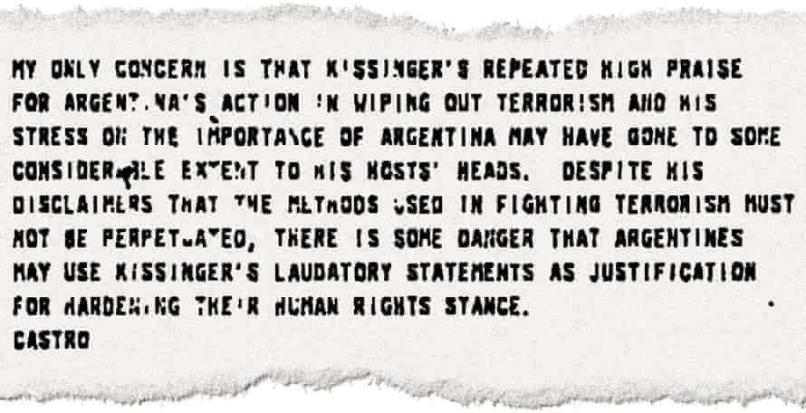 A memorandum from US ambassador Castro.