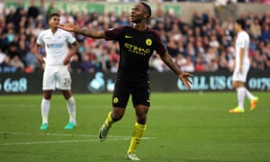 Manchester City's Raheem Sterling celebrates his goal in the Premier League match against Swansea City