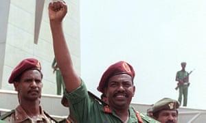General Omar al-Bashir at a rally in Khartoum in 1989.
