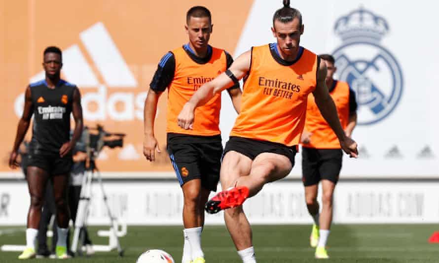 Eden Hazard and Gareth Bale in pre-season training for Real Madrid.