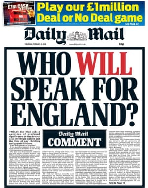 The front page of the Daily Mail, Thursday 4 February.