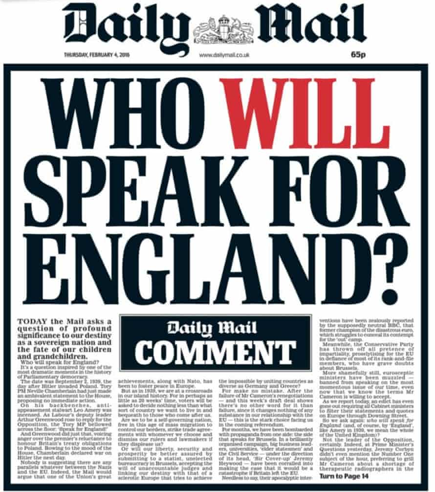 The front page of the Daily Mail, 4 February 2016.