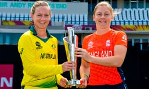 Meg Lanning and Heather Knight hold the Women's World T20 trophy