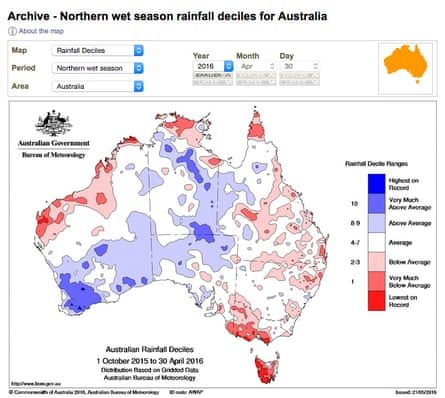 A graphic showing how much rainfall was above or below average in the northern Australian wet season of 2016.