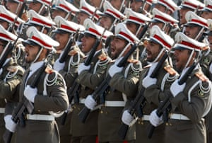 Iranian soldiers march in Tehran, Iran