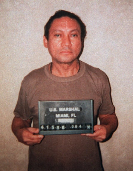 Manuel Noriega in US custody in 1990; he was later given a 40-year sentence for drug trafficking.
