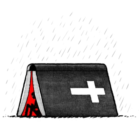 Illustration by David Foldvari of a figure hiding from the rain under the Bible