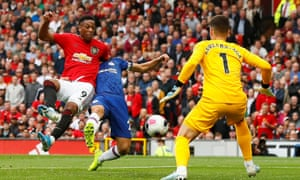 Anthony Martial scores in Manchester United's 4-0 home victory over Chelsea