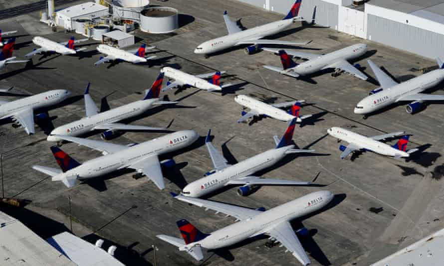 Delta planes parked in Birmingham, Alabama. Warren Buffett says: 'We took money out of the business basically even at a substantial loss.'