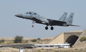 A F-15 fighter jet landing at the Khamis Mushayt military airbase