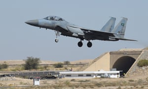 A Saudi F-15 fighter jet at the Khamis Mushayt military airbase. Amid escalating concerns over human rights, countries such as Germany and Belgium have in recent years denied export applications for arms headed to Saudi Arabia.