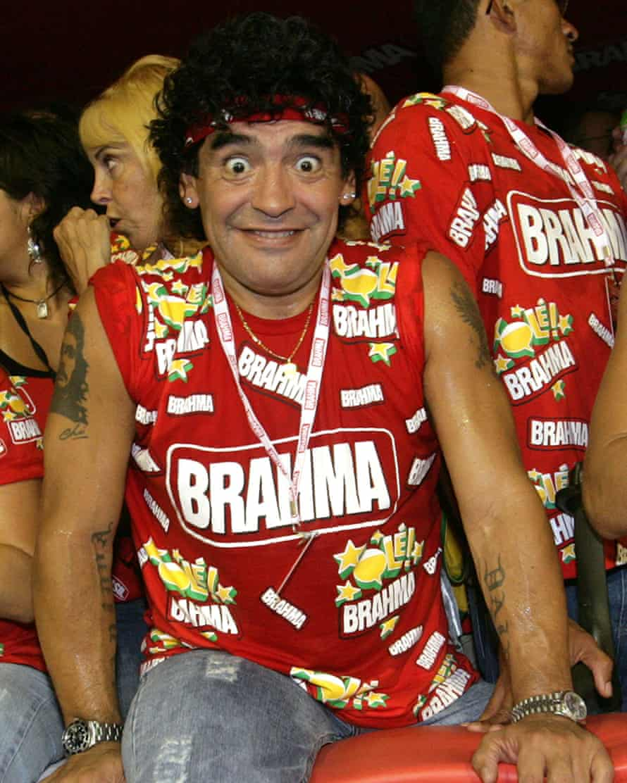 Diego Maradona enjoys himself at Rio Carnival.